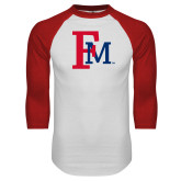White/Red Raglan Baseball T-Shirt-Interlocking FM