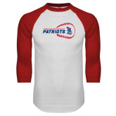 White/Red Raglan Baseball T-Shirt-Baseball on Right