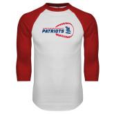White/Red Raglan Baseball T-Shirt-Baseball on Right