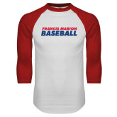 White/Red Raglan Baseball T-Shirt-Baseball Stacked