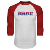 White/Red Raglan Baseball T-Shirt-Baseball Stacked