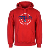 Red Fleece Hoodie-Basketball Arched
