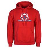 Red Fleece Hoodie-Soccer Geometric Ball