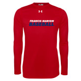 Under Armour Red Long Sleeve Tech Tee-Baseball Stacked