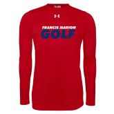 Under Armour Red Long Sleeve Tech Tee-Golf Stacked