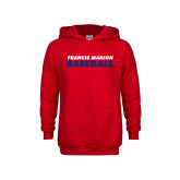 Youth Red Fleece Hoodie-Baseball Stacked