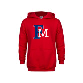 Youth Red Fleece Hoodie-Interlocking FM