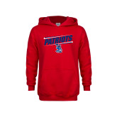 Youth Red Fleece Hoodie-Patriots Slant