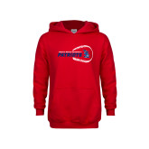 Youth Red Fleece Hoodie-Baseball on Right