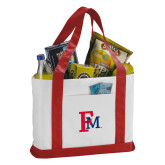 Contender White/Red Canvas Tote-Interlocking FM