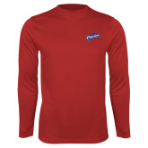 Performance Red Longsleeve Shirt-Patriots Star