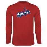 Performance Red Longsleeve Shirt-Patriots Star