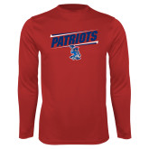 Performance Red Longsleeve Shirt-Patriots Slant