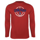 Performance Red Longsleeve Shirt-Basketball Arched