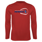 Performance Red Longsleeve Shirt-Baseball on Right