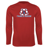 Performance Red Longsleeve Shirt-Soccer Geometric Ball