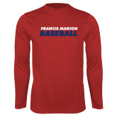 Performance Red Longsleeve Shirt-Baseball Stacked