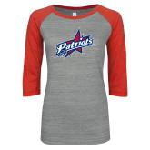 ENZA Ladies Athletic Heather/Red Vintage Triblend Baseball Tee-Patriots Star