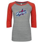 ENZA Ladies Athletic Heather/Red Vintage Triblend Baseball Tee-Patriots Star