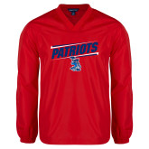 V Neck Red Raglan Windshirt-Patriots Slant