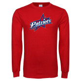 Red Long Sleeve T Shirt-Patriots Star Distressed