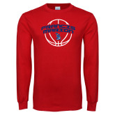 Red Long Sleeve T Shirt-Basketball Arched
