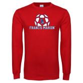 Red Long Sleeve T Shirt-Soccer Geometric Ball
