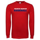 Red Long Sleeve T Shirt-Baseball Stacked