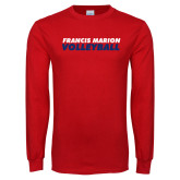 Red Long Sleeve T Shirt-Volleyball Stacked