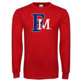 Red Long Sleeve T Shirt-Interlocking FM