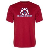 Performance Red Tee-Soccer Geometric Ball