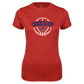 Ladies Syntrel Performance Red Tee-Basketball Arched