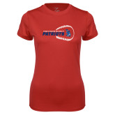 Ladies Syntrel Performance Red Tee-Baseball on Right