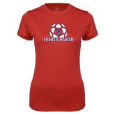 Ladies Syntrel Performance Red Tee-Soccer Geometric Ball