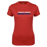 Ladies Syntrel Performance Red Tee-Basketball Stacked