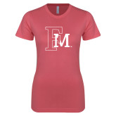 Next Level Ladies SoftStyle Junior Fitted Pink Tee-Interlocking FM