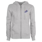 ENZA Ladies Grey Fleece Full Zip Hoodie-Patriots Star