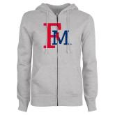 ENZA Ladies Grey Fleece Full Zip Hoodie-Interlocking FM