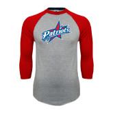 Grey/Red Raglan Baseball T Shirt-Patriots Star
