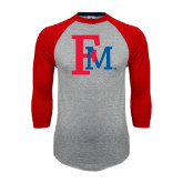 Grey/Red Raglan Baseball T Shirt-Interlocking FM