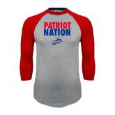 Grey/Red Raglan Baseball T Shirt-Patriot Nation