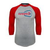 Grey/Red Raglan Baseball T Shirt-Baseball on Right FM