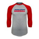 Grey/Red Raglan Baseball T Shirt-Baseball Stacked