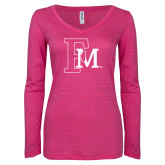 ENZA Ladies Hot Pink Long Sleeve V Neck Tee-Interlocking FM