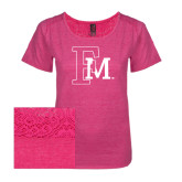Ladies Dark Fuchsia Heather Tri-Blend Lace Tee-Interlocking FM