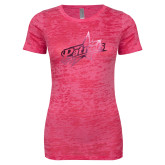 Next Level Ladies Junior Fit Fuchsia Burnout Tee-Patriots Star Foil
