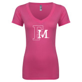 Next Level Ladies Junior Fit Ideal V Pink Tee-Interlocking FM