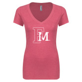 Next Level Ladies Vintage Pink Tri Blend V-Neck Tee-Interlocking FM