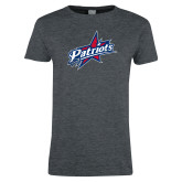 Ladies Dark Heather T Shirt-Patriots Star Distressed