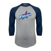 Grey/Navy Raglan Baseball T Shirt-Patriots Star